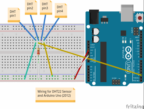 Fritzing diagram of DHT22 wiring