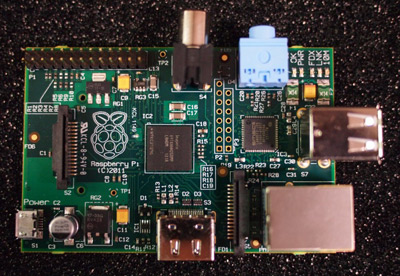 Photograph of the  Raspberry-Pi board.